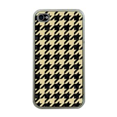 Houndstooth1 Black Marble & Light Sand Apple Iphone 4 Case (clear) by trendistuff