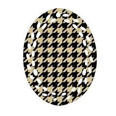 Houndstooth1 Black Marble & Light Sand Oval Filigree Ornament (two Sides)