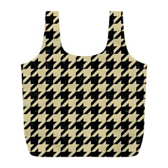 Houndstooth1 Black Marble & Light Sand Full Print Recycle Bags (l)  by trendistuff