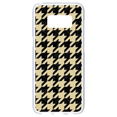 Houndstooth1 Black Marble & Light Sand Samsung Galaxy S8 White Seamless Case by trendistuff
