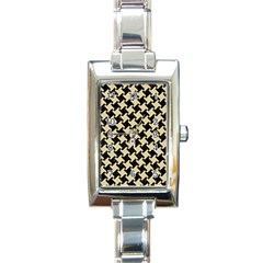 Houndstooth2 Black Marble & Light Sand Rectangle Italian Charm Watch by trendistuff