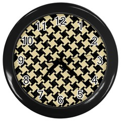 Houndstooth2 Black Marble & Light Sand Wall Clocks (black) by trendistuff