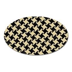 Houndstooth2 Black Marble & Light Sand Oval Magnet by trendistuff