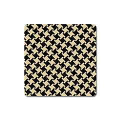 Houndstooth2 Black Marble & Light Sand Square Magnet by trendistuff