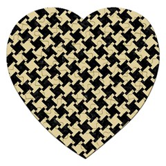 Houndstooth2 Black Marble & Light Sand Jigsaw Puzzle (heart) by trendistuff