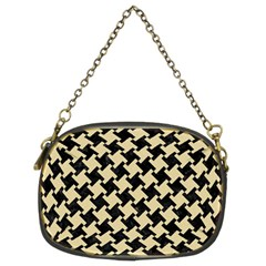 Houndstooth2 Black Marble & Light Sand Chain Purses (two Sides)