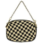 HOUNDSTOOTH2 BLACK MARBLE & LIGHT SAND Chain Purses (Two Sides)  Front
