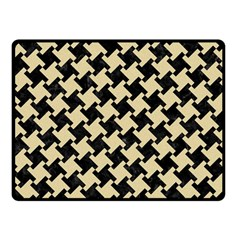 Houndstooth2 Black Marble & Light Sand Fleece Blanket (small) by trendistuff