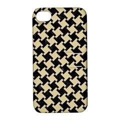 Houndstooth2 Black Marble & Light Sand Apple Iphone 4/4s Hardshell Case With Stand by trendistuff