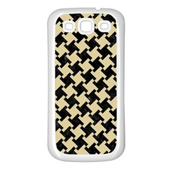 Houndstooth2 Black Marble & Light Sand Samsung Galaxy S3 Back Case (white) by trendistuff