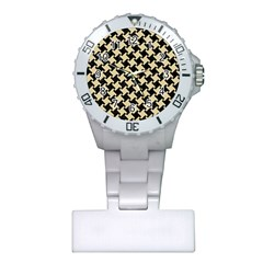 Houndstooth2 Black Marble & Light Sand Plastic Nurses Watch by trendistuff
