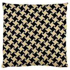 Houndstooth2 Black Marble & Light Sand Large Flano Cushion Case (one Side) by trendistuff