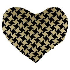 Houndstooth2 Black Marble & Light Sand Large 19  Premium Flano Heart Shape Cushions by trendistuff