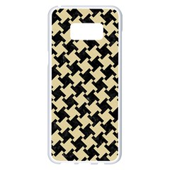 Houndstooth2 Black Marble & Light Sand Samsung Galaxy S8 Plus White Seamless Case by trendistuff