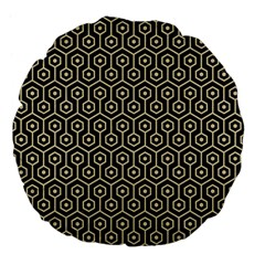 Hexagon1 Black Marble & Light Sand Large 18  Premium Flano Round Cushions by trendistuff