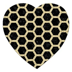 Hexagon2 Black Marble & Light Sand Jigsaw Puzzle (heart) by trendistuff