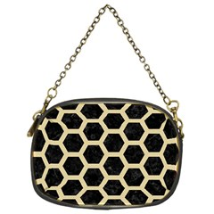 Hexagon2 Black Marble & Light Sand Chain Purses (one Side)  by trendistuff