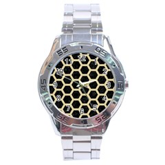 Hexagon2 Black Marble & Light Sand Stainless Steel Analogue Watch by trendistuff