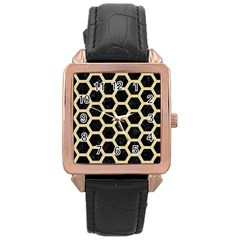 Hexagon2 Black Marble & Light Sand Rose Gold Leather Watch  by trendistuff