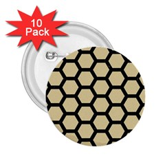 Hexagon2 Black Marble & Light Sand (r) 2 25  Buttons (10 Pack)  by trendistuff