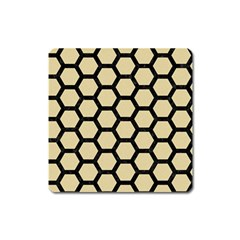 Hexagon2 Black Marble & Light Sand (r) Square Magnet by trendistuff