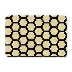 Hexagon2 Black Marble & Light Sand (r) Small Doormat  by trendistuff