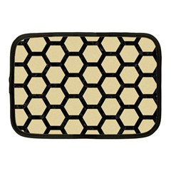 Hexagon2 Black Marble & Light Sand (r) Netbook Case (medium)  by trendistuff