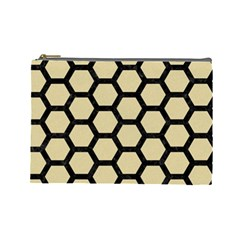 Hexagon2 Black Marble & Light Sand (r) Cosmetic Bag (large)  by trendistuff