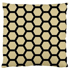 Hexagon2 Black Marble & Light Sand (r) Large Flano Cushion Case (one Side) by trendistuff