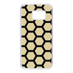 Hexagon2 Black Marble & Light Sand (r) Samsung Galaxy S7 White Seamless Case by trendistuff