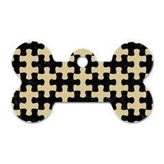 Puzzle1 Black Marble & Light Sand Dog Tag Bone (two Sides)