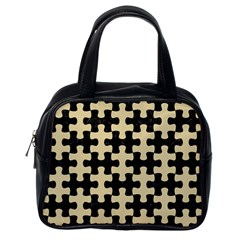 Puzzle1 Black Marble & Light Sand Classic Handbags (one Side) by trendistuff