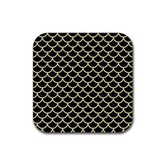 Scales1 Black Marble & Light Sand Rubber Square Coaster (4 Pack)  by trendistuff