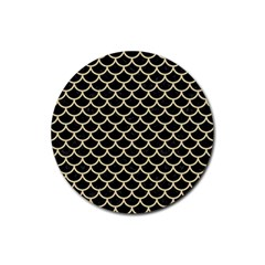 Scales1 Black Marble & Light Sand Rubber Round Coaster (4 Pack)  by trendistuff