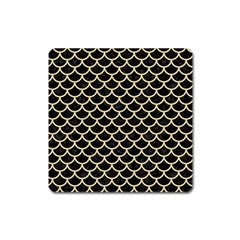 Scales1 Black Marble & Light Sand Square Magnet by trendistuff
