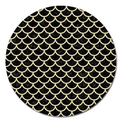 Scales1 Black Marble & Light Sand Magnet 5  (round) by trendistuff