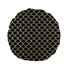 Scales1 Black Marble & Light Sand Standard 15  Premium Flano Round Cushions by trendistuff
