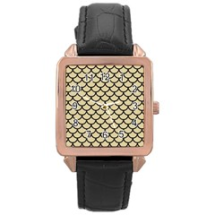 Scales1 Black Marble & Light Sand (r) Rose Gold Leather Watch  by trendistuff