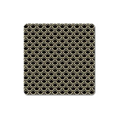 Scales2 Black Marble & Light Sand Square Magnet by trendistuff