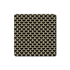 Scales3 Black Marble & Light Sand Square Magnet by trendistuff