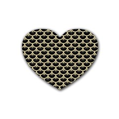 Scales3 Black Marble & Light Sand Rubber Coaster (heart)  by trendistuff