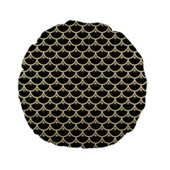 Scales3 Black Marble & Light Sand Standard 15  Premium Flano Round Cushions by trendistuff