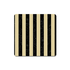 Stripes1 Black Marble & Light Sand Square Magnet by trendistuff