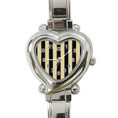 Stripes1 Black Marble & Light Sand Heart Italian Charm Watch by trendistuff