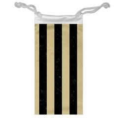 Stripes1 Black Marble & Light Sand Jewelry Bag
