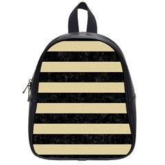 Stripes2 Black Marble & Light Sand School Bag (small) by trendistuff
