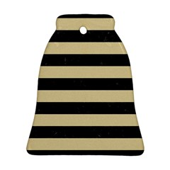 Stripes2 Black Marble & Light Sand Bell Ornament (two Sides) by trendistuff