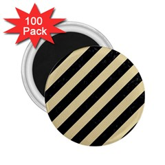 Stripes3 Black Marble & Light Sand 2 25  Magnets (100 Pack)  by trendistuff
