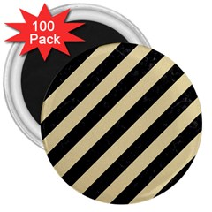 Stripes3 Black Marble & Light Sand 3  Magnets (100 Pack) by trendistuff