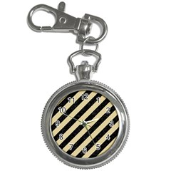 Stripes3 Black Marble & Light Sand Key Chain Watches by trendistuff